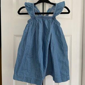 Baby Girl Denim Flutter Strap Dress